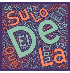 Shakira la diva latina text background wordcloud vector
