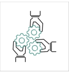 Business teamwork outline icon vector