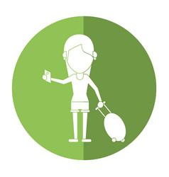 girl tourist passport and baggage shadow vector image
