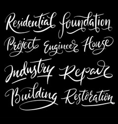 Residential and building hand written typography vector