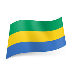 National flag of gabonese republic green yellow vector