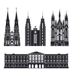 Northern europe european buildings on white vector