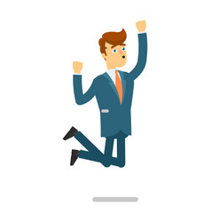 happy businessman in suit jumping character vector image