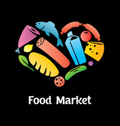 Stylish food market poster vector