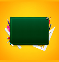 blank green cutting board with color pencil pen vector image