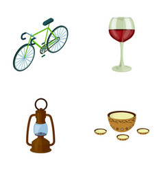 A bicycle a glass of wine and other web icon in vector