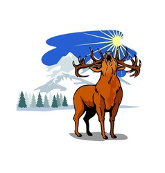 Deer in the Snow Mountains vector image