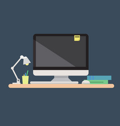 computer with mouse and keyboard vector image