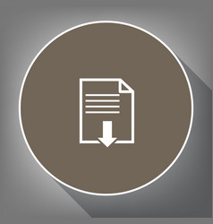 File download sign  white icon on brown vector