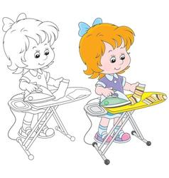 Girl irons socks vector image