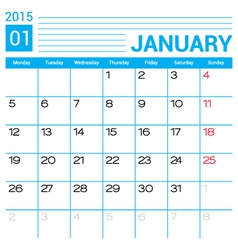January 2015 calendar template vector