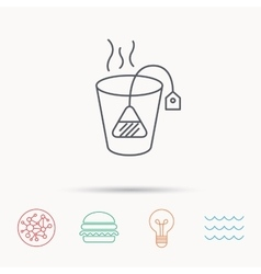 Tea bag icon natural hot drink sign vector