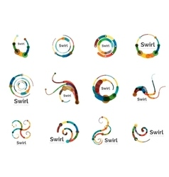 Swirl circle logo set vector