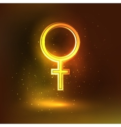 Women sign symbol glowing background vector