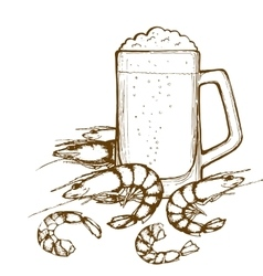 Beer glass and shrimps vector