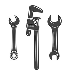 A set of three wrenches spanners black on white vector