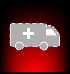 Ambulance sign postage stamp or old vector