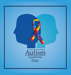 Autism awareness day human heads profile puzzle vector
