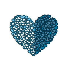 Blue silhouette of many hearts forming a big heart vector