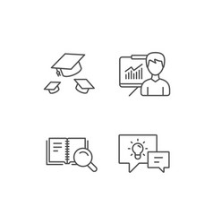 Book graduation cap and presentation line icons vector