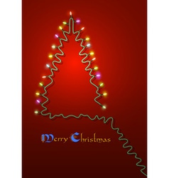 Christmas tree formed garland lights vector image vector image