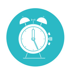 Circle light blue with antique alarm clock vector