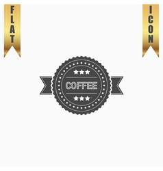 Coffee label flat icon vector