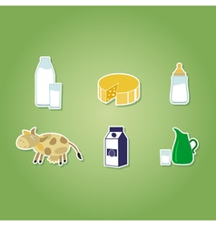color set with with milk icons vector image