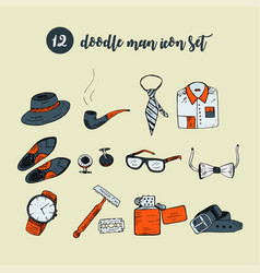 Doodle icon set with man accessories and vector