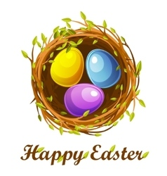 Easter greeting card bird nest and color eggs vector