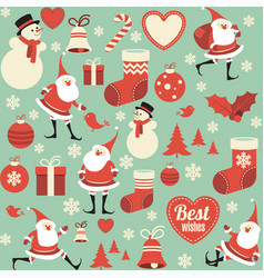 flat design christmas seamless pattern vector image