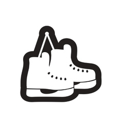 Flat icon in black and white skates vector