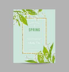 Floral spring design template with golden frame vector