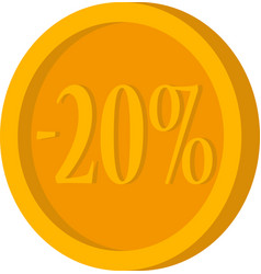 gold coin with minus twenty percent on a white vector image vector image