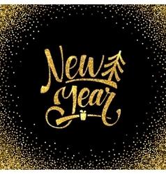 Gold happy new year card golden shiny glitter vector