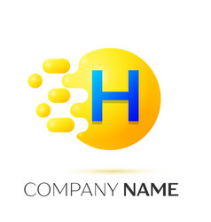 H letter splash yellow dots and circle bubble vector