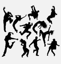 Hip hop male and female dancer silhouettes vector image