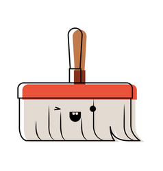 Kawaii hand broom with wooden stick in colorful vector