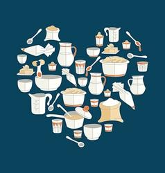 Kitchen utensils as heart vector