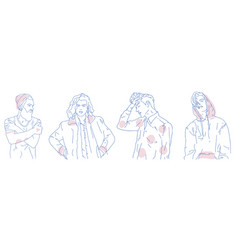 outline drawings of stylish young men dressed in vector image vector image
