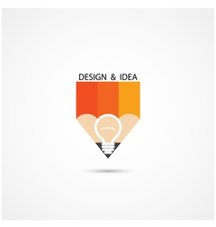 Pencil Logo and Creative light bulb idea vector image vector image