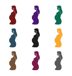 pregnant icon in black style isolated on white vector image