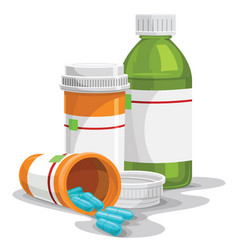 Prescription capsule and bottles vector