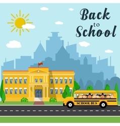 School building and bus vector