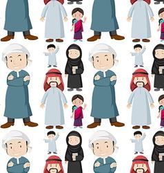 Seamless background of muslim people vector image