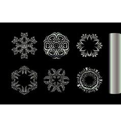 Set of silver fractal mandala vector image vector image