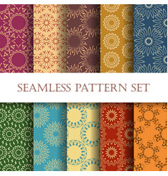 ten floral seamless patterns vector image vector image