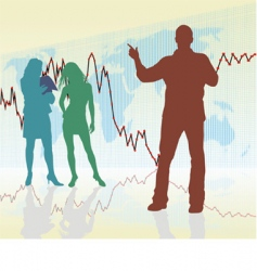 Traders rising global crisis vector
