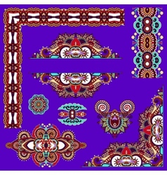 Violet colour set of paisley floral design vector