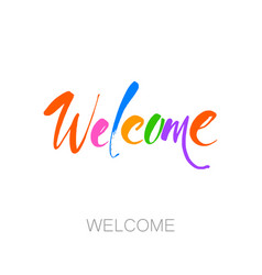 Welcome lettering template vector